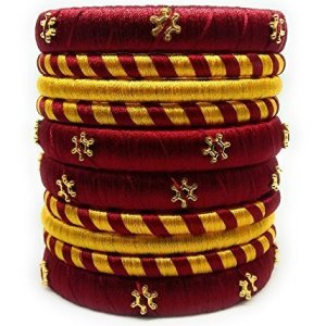 Maroon and gold silk thread bangles