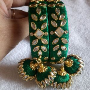 Dark Green Silk Thread kundan bangles with hangings