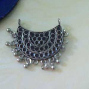 Antique silver pendant chandbali style
