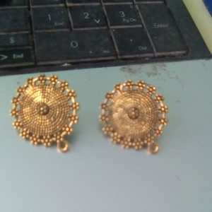 Antique gold round studs big