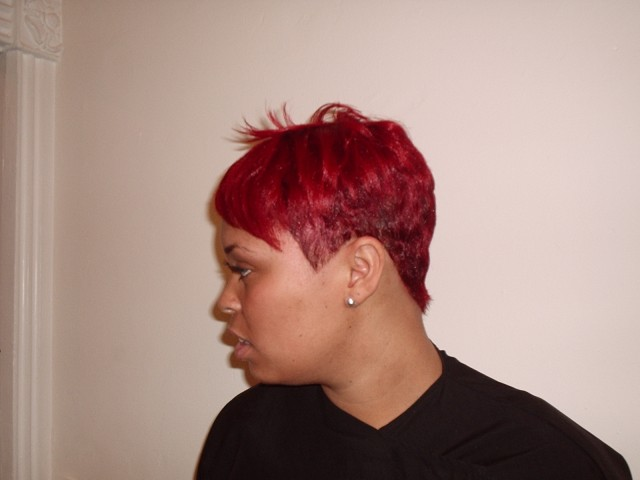 Vibrant Red Fashion Hair Colour (Left Side View)