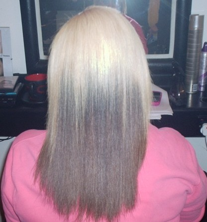 Brazilian Blowout On Dyed Mixed Race Hair (After Back View)