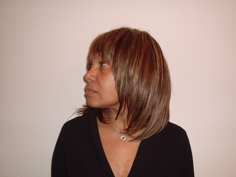 Weave Hair Style with highlights - Side View