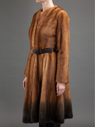 Fendi brown belted mink fur coat