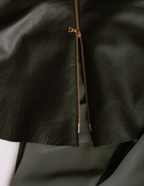 leather peplum, detail of zip closure