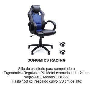 Silla de escritorio para ordenador Songmics Racing