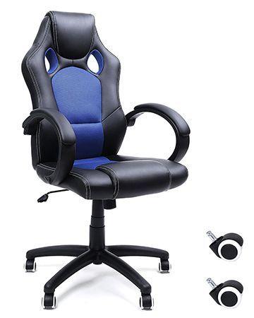 Silla de escritorio Songmics Racing OBG56L azul y negra. Análisis en profundidad