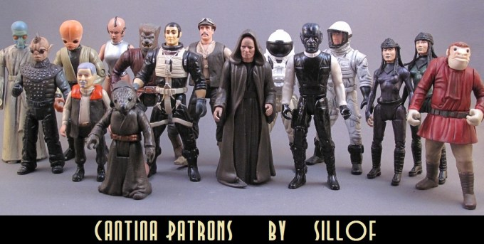 Sillof 3.75 Star wars customs figures cantina patrons 1 1990's