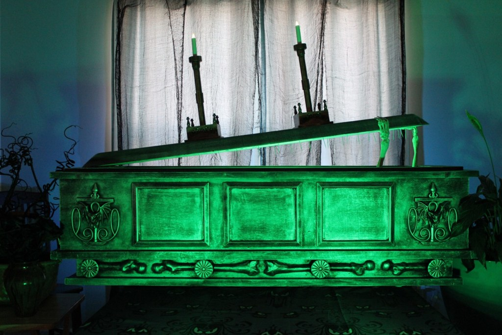 DIY Haunted Mansion coffin with rising lid