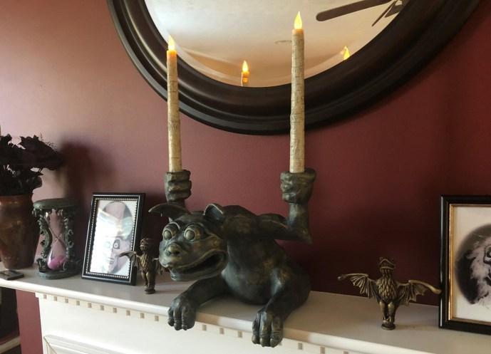 DIY Haunted Mansion gargoyle candelabra