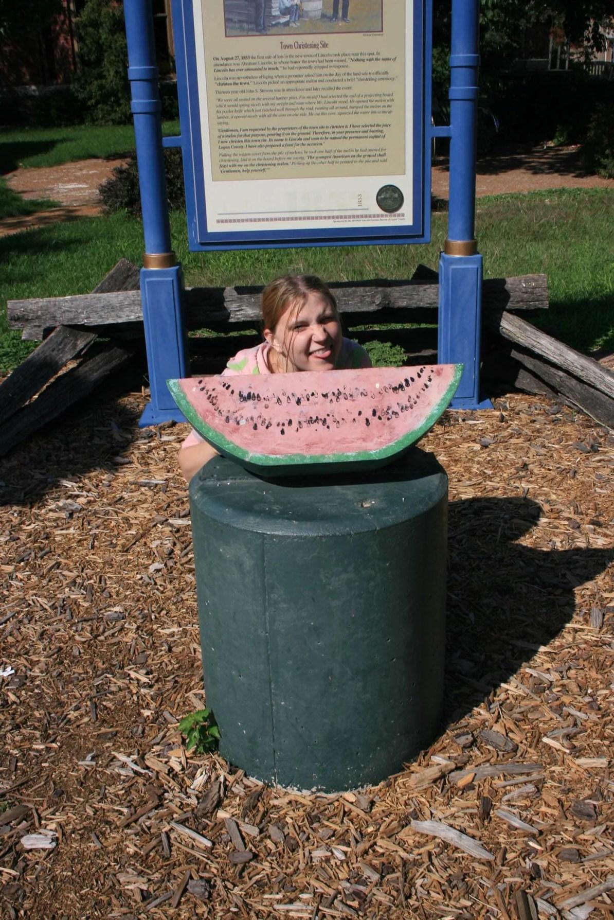 Abraham Lincoln Watermelon Monument in Lincoln, Illinois