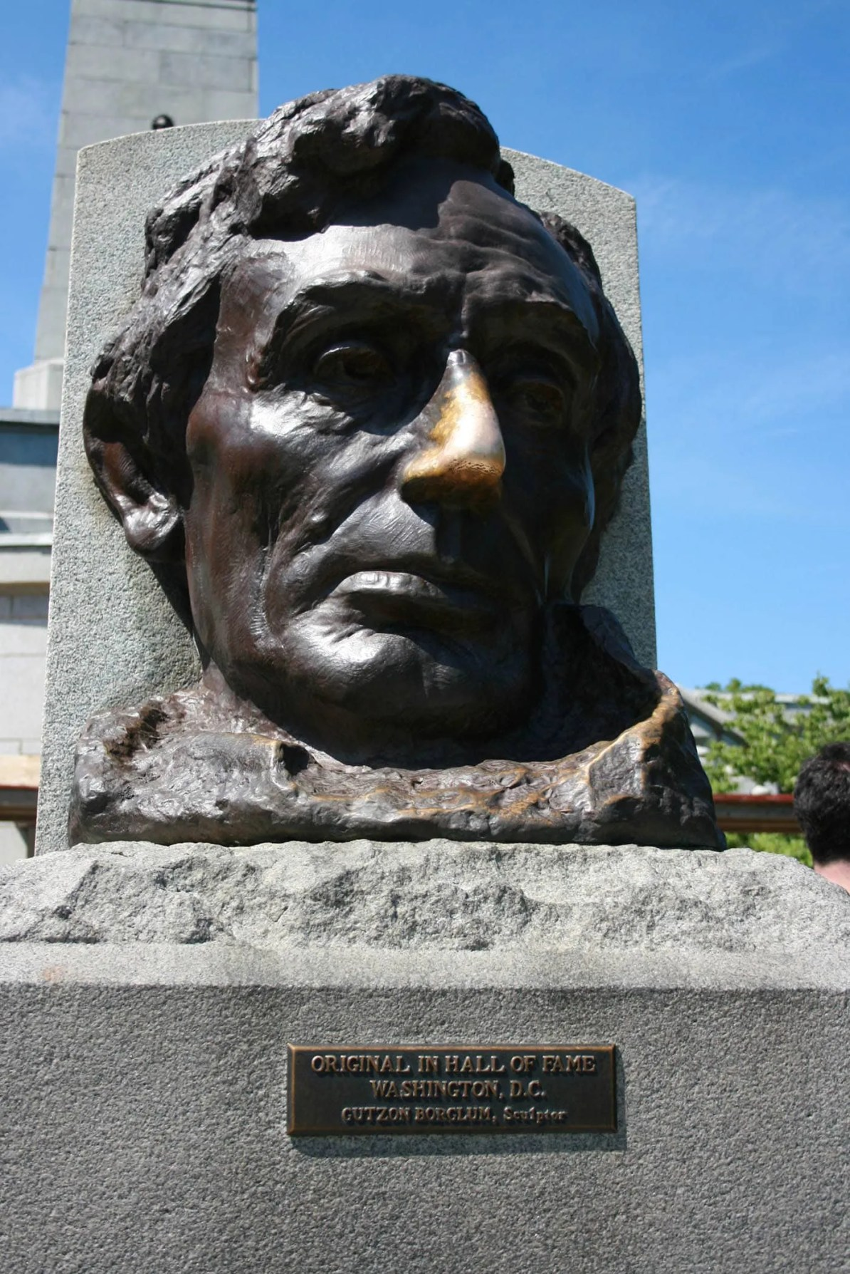 Abraham Lincoln's Lucky Nose in Springfield, Illinois - rub Lincoln's nose for good luck at Oak Ridge Cemetery in Springfield, Illinois