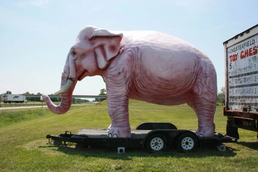 Fiberglass Pink Elephant - a roadside attraction at Pink Elephant Antique Mall in Livingston, Illinois