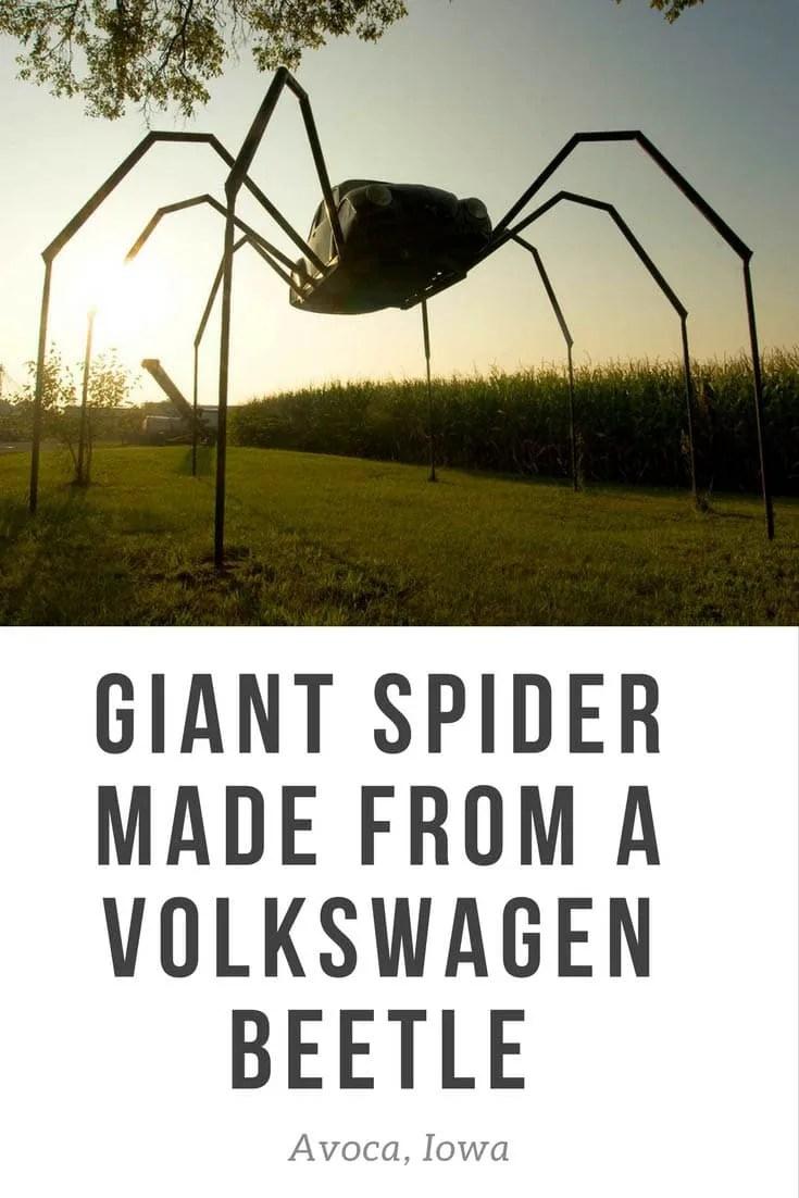 Giant Volkswagen Beetle Spider in Avoca, Iowa. Giant Spider made from a Volkswagen Beetle car - a roadside attraction in Avoca, Iowa.