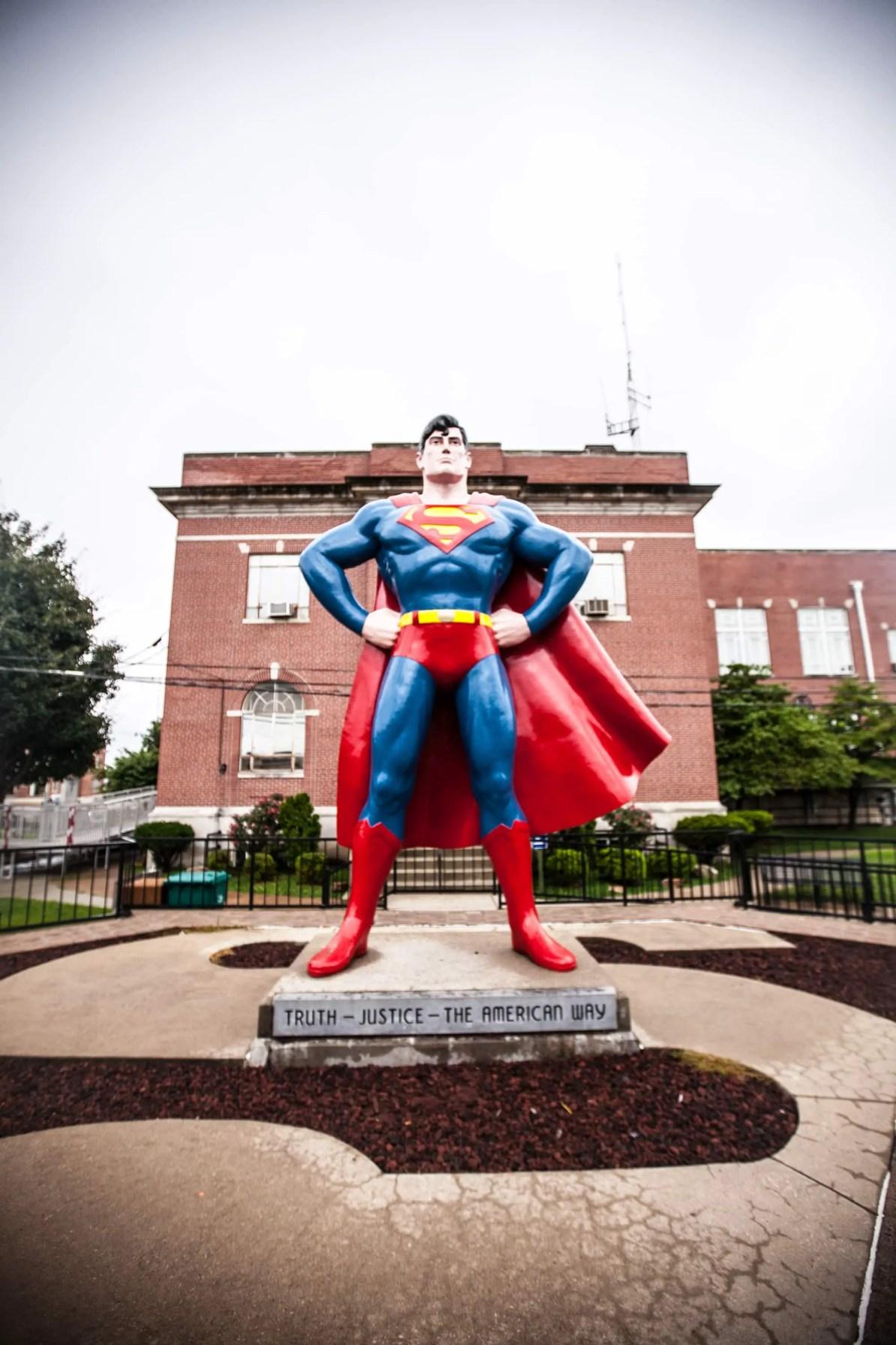 Giant Superman Statue in Metropolis, Illinois.