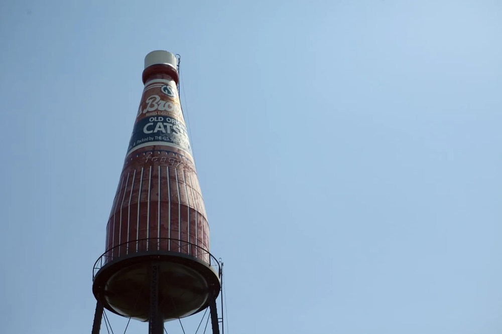 The World's Largest Catsup Bottle, a roadside attraction in Collinsville, Illinois
