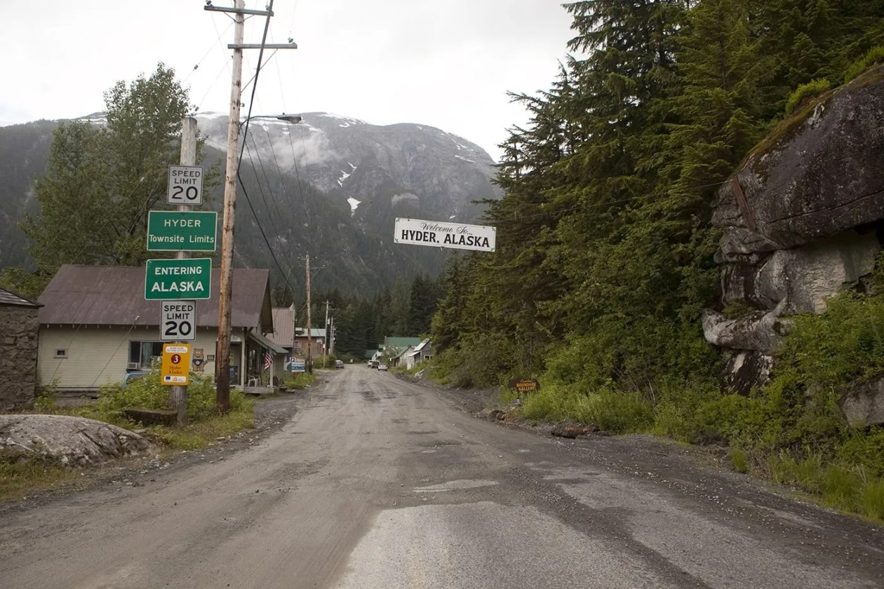Welcome to Hyder, Alaska sign.