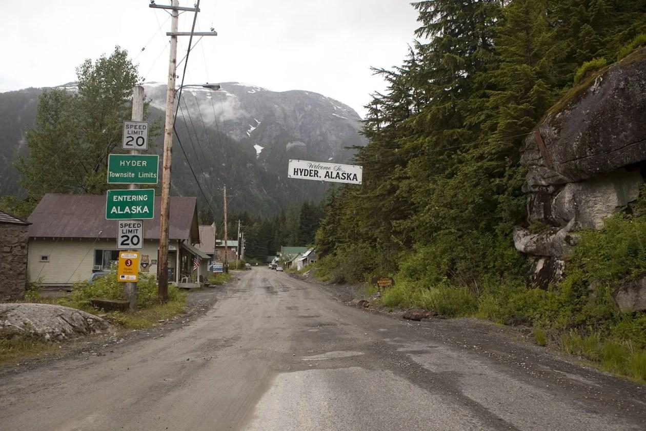 Welcome to Hyder, Alaska sign.