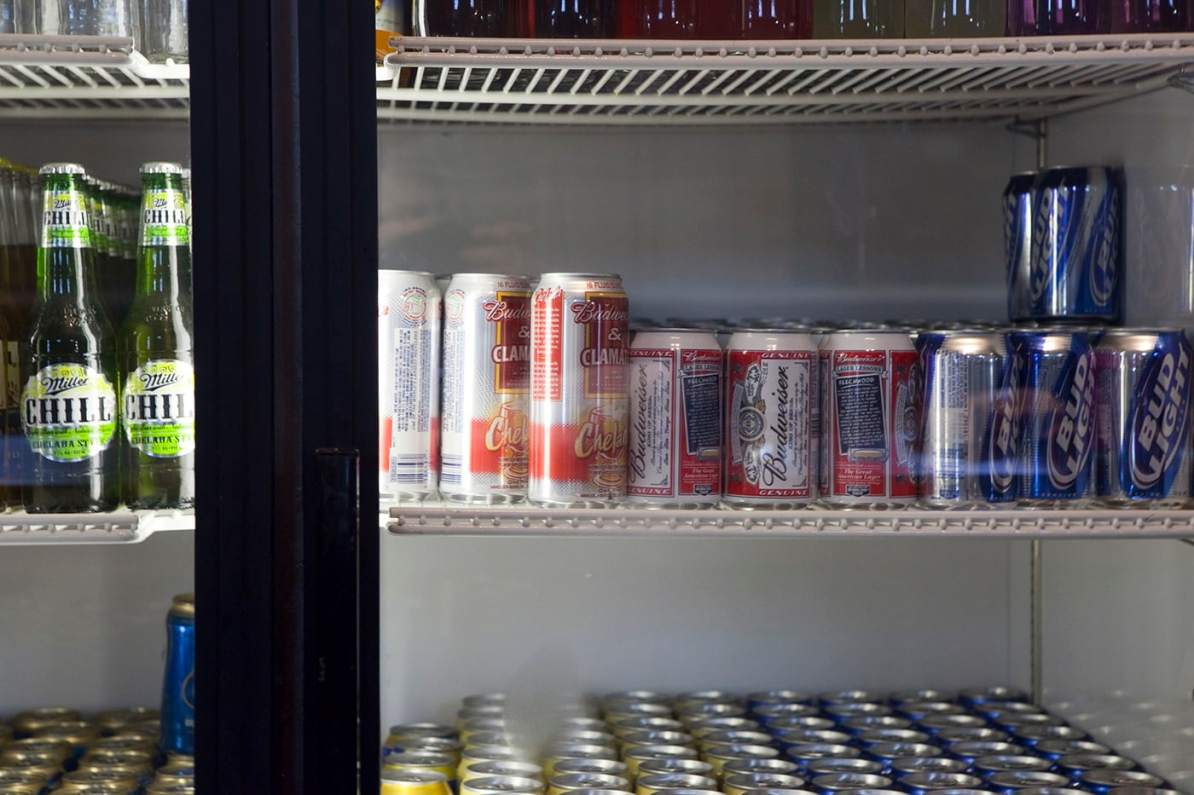 Budweiser and Clamato cans in the fridge at the Glacier Inn in Hyder, Alaska.