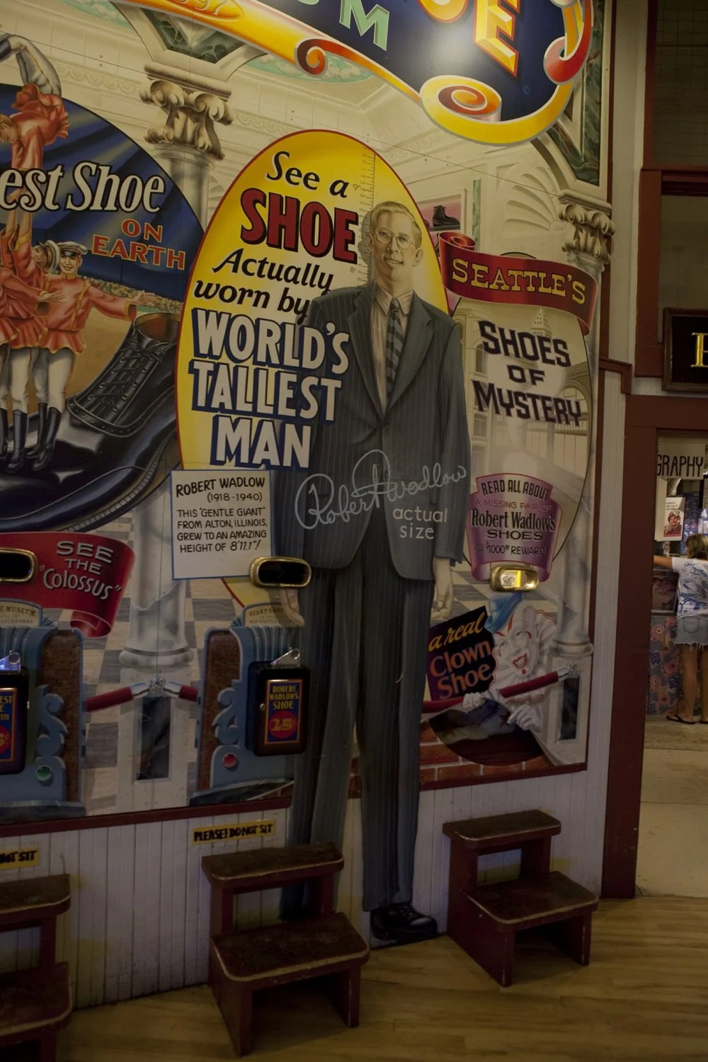 A shoe belonging to Robert Wadlow, the world's tallest man, at The World Famous Giant Shoe Museum in Pike Place Market in Seattle, Washington.