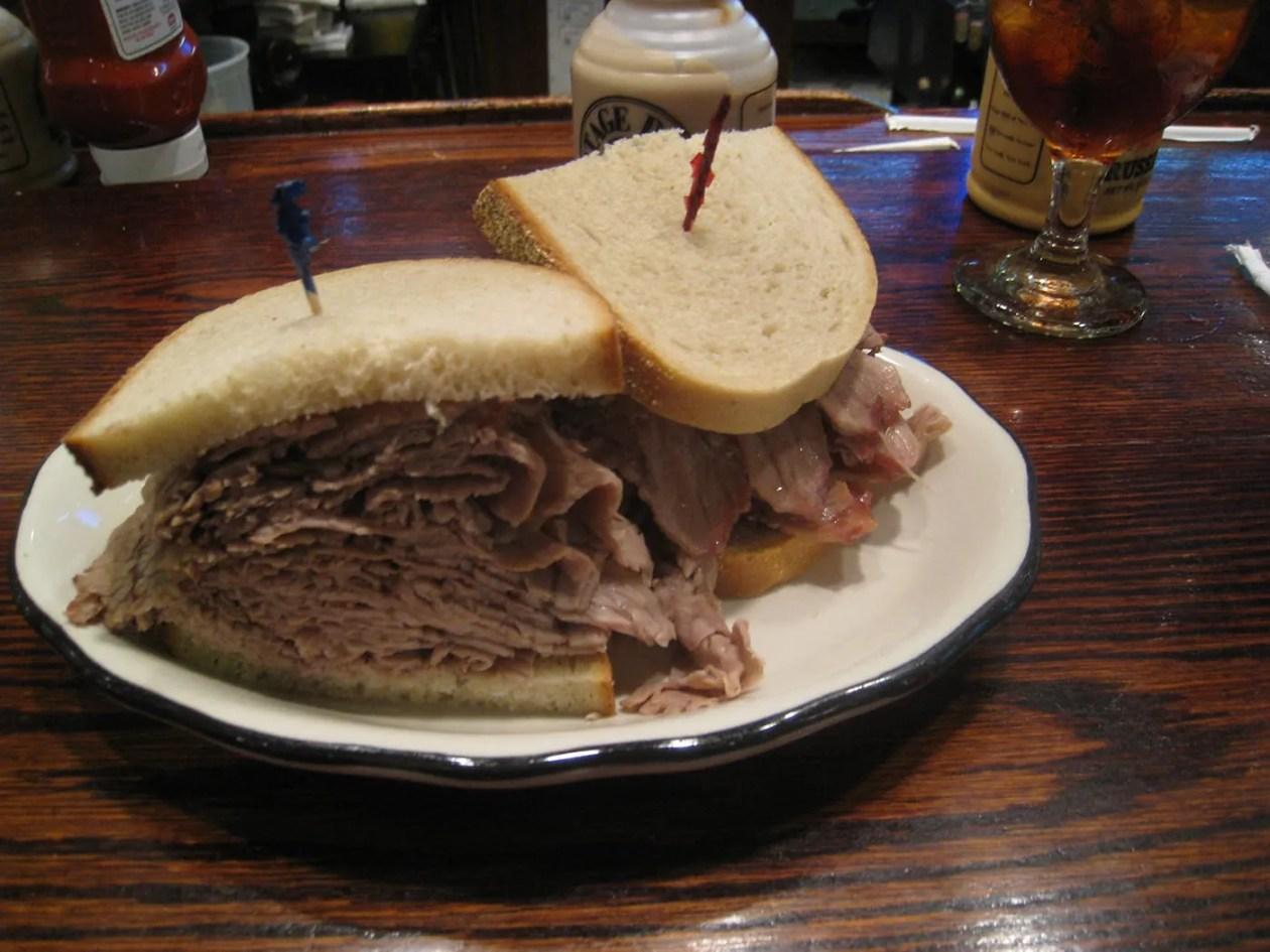 Giant Brisket Sandwich in New York City.