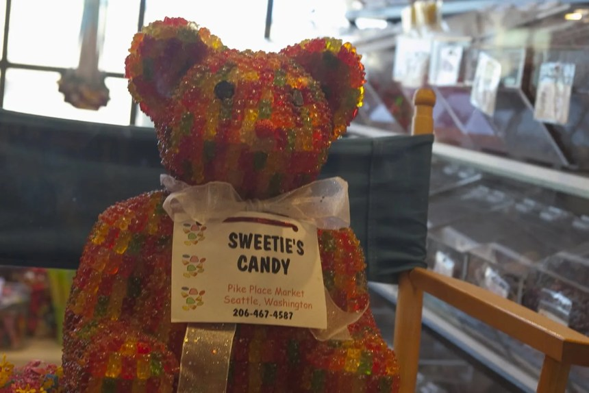 Giant Gummy Bear made from Gummy Bears at Sweetie's Candy in Pike Place Market in Seattle, Washington.