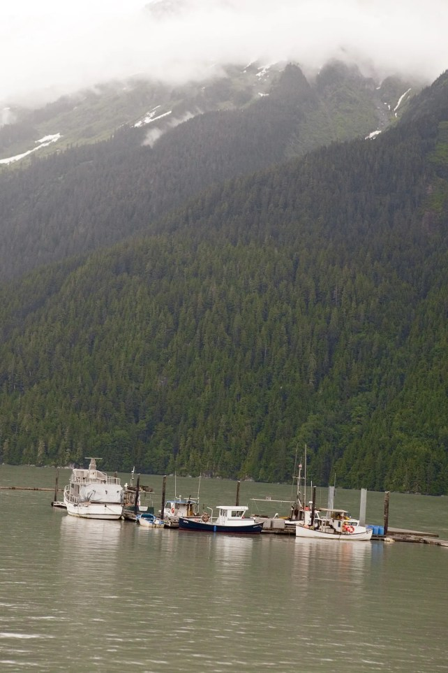 Boats near the pier in Hyder, Alaska.