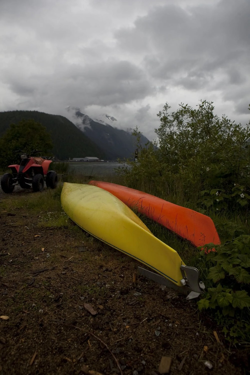Canoes near the pier in Hyder, Alaska.