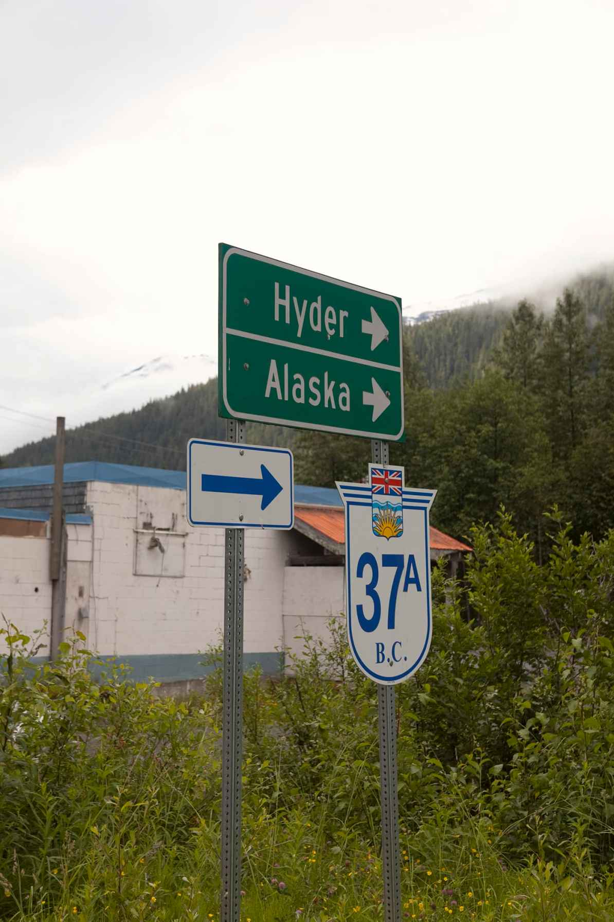 Hyder, Alaska, road sign.