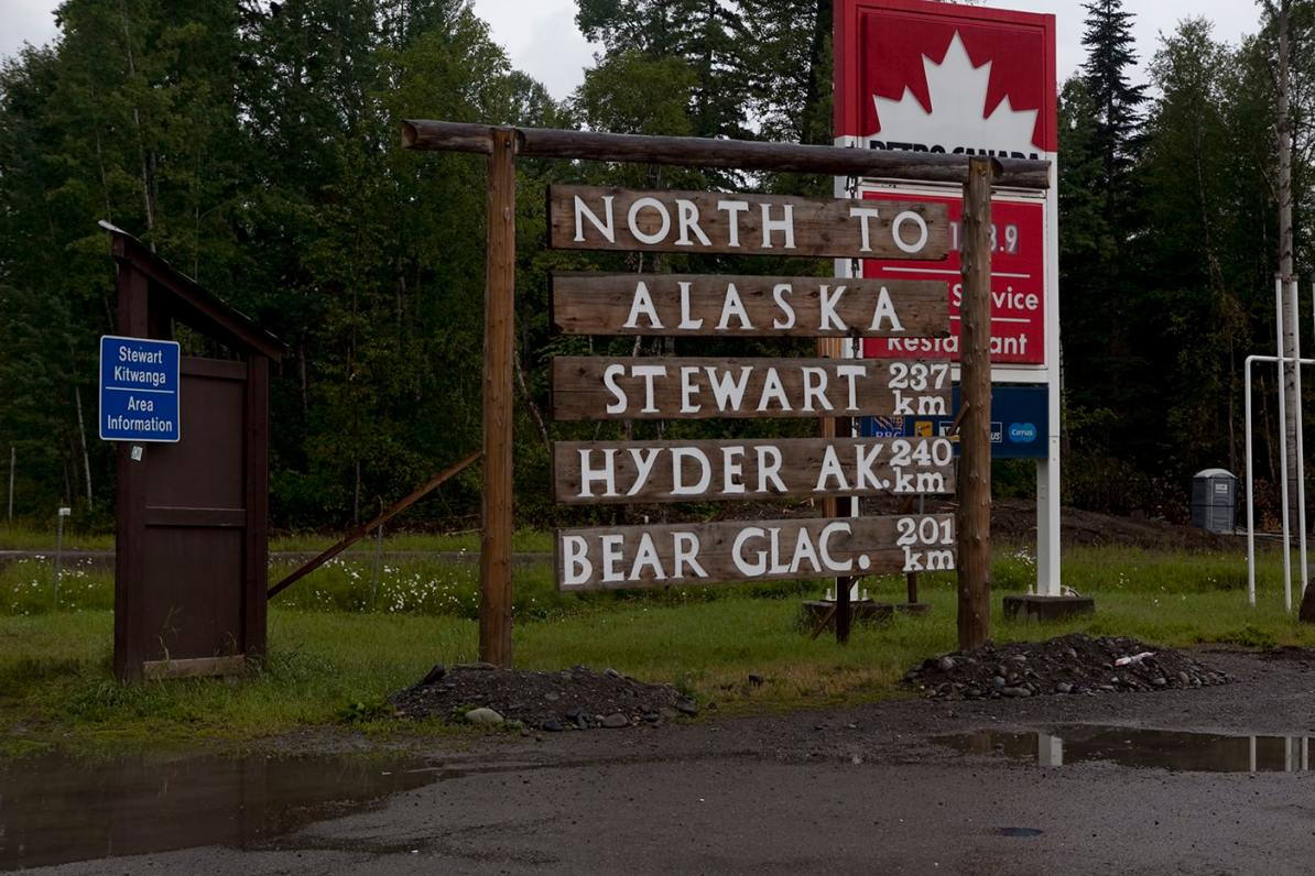 North to Alaska, Stewart, Hyder, Bear Glacier sign in Kitwanga,British Columbia, Canada.