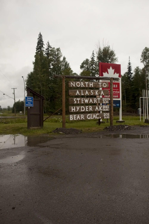 North to Alaska, Stewart, Hyder, Bear Glacier sign in Kitwanga,British Columbia, Canada.