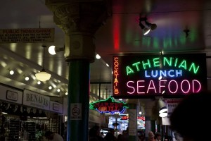 Athenian Lunch Seafood sign at Pike Place Market in Seattle, Washington.