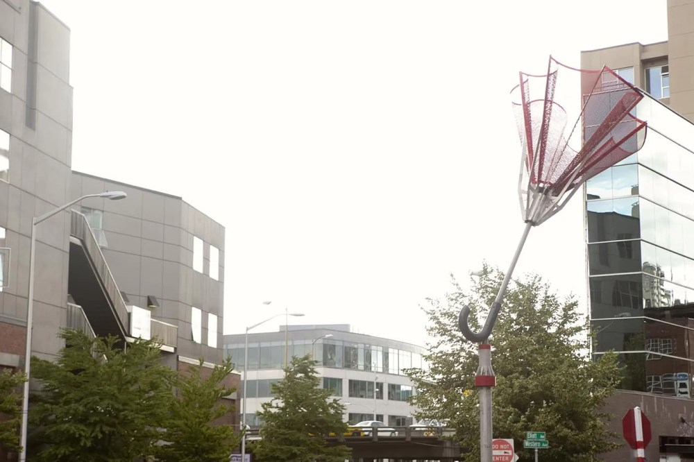 Angie's Umbrella, a sculpture of an upturned umbrella, in Seattle, Washington