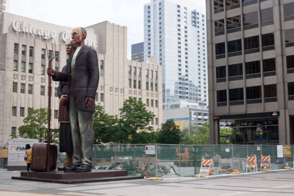 God Bless America - American Gothic Statue by J. Seward Johnson - in Chicago, Illinois.