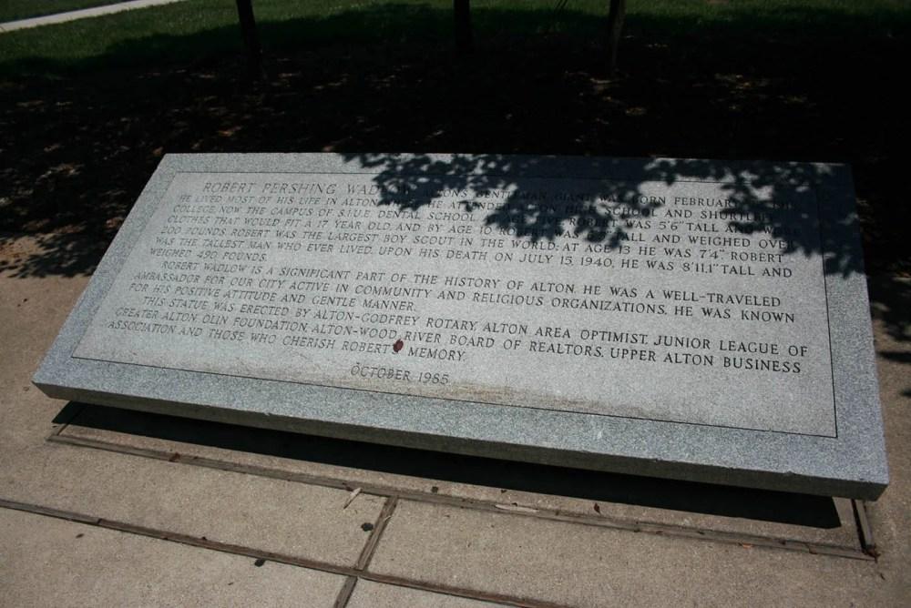 Statue of Robert Wadlow, the world's tallest man, in Alton, Illinois.