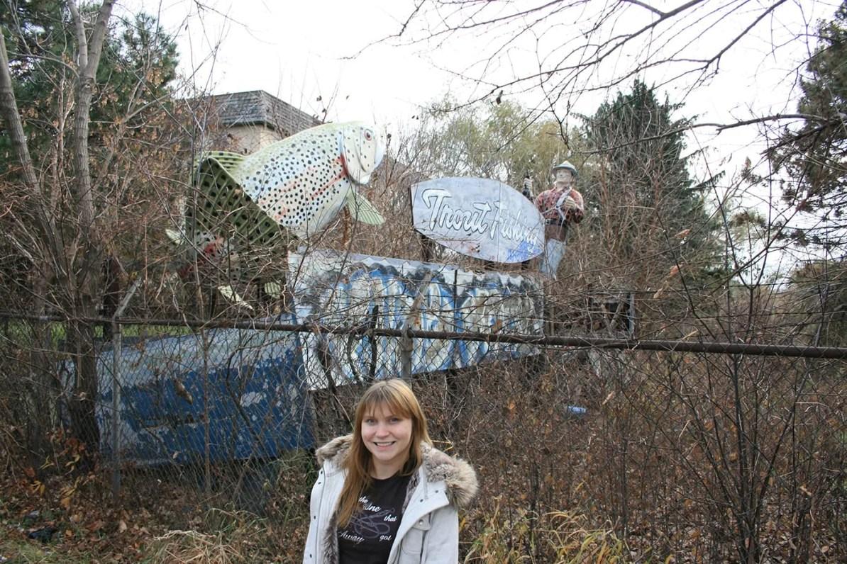 Hidden Trout Fisherman Statue, a roadside attraction in Niles/Des Plaines, Illinois
