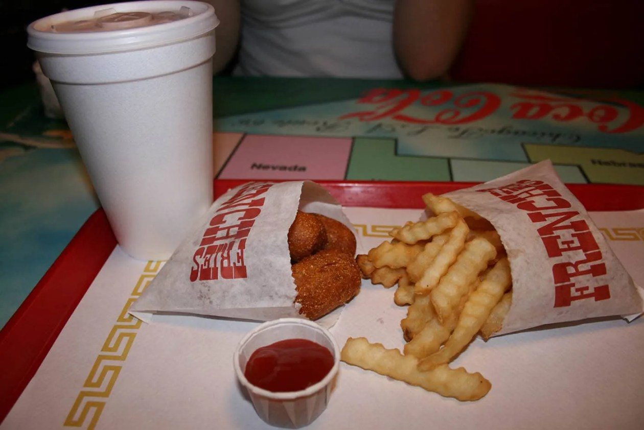 Mini corn dogs, fries, and a shake at the Launching Pad in Wilmington, Illinois