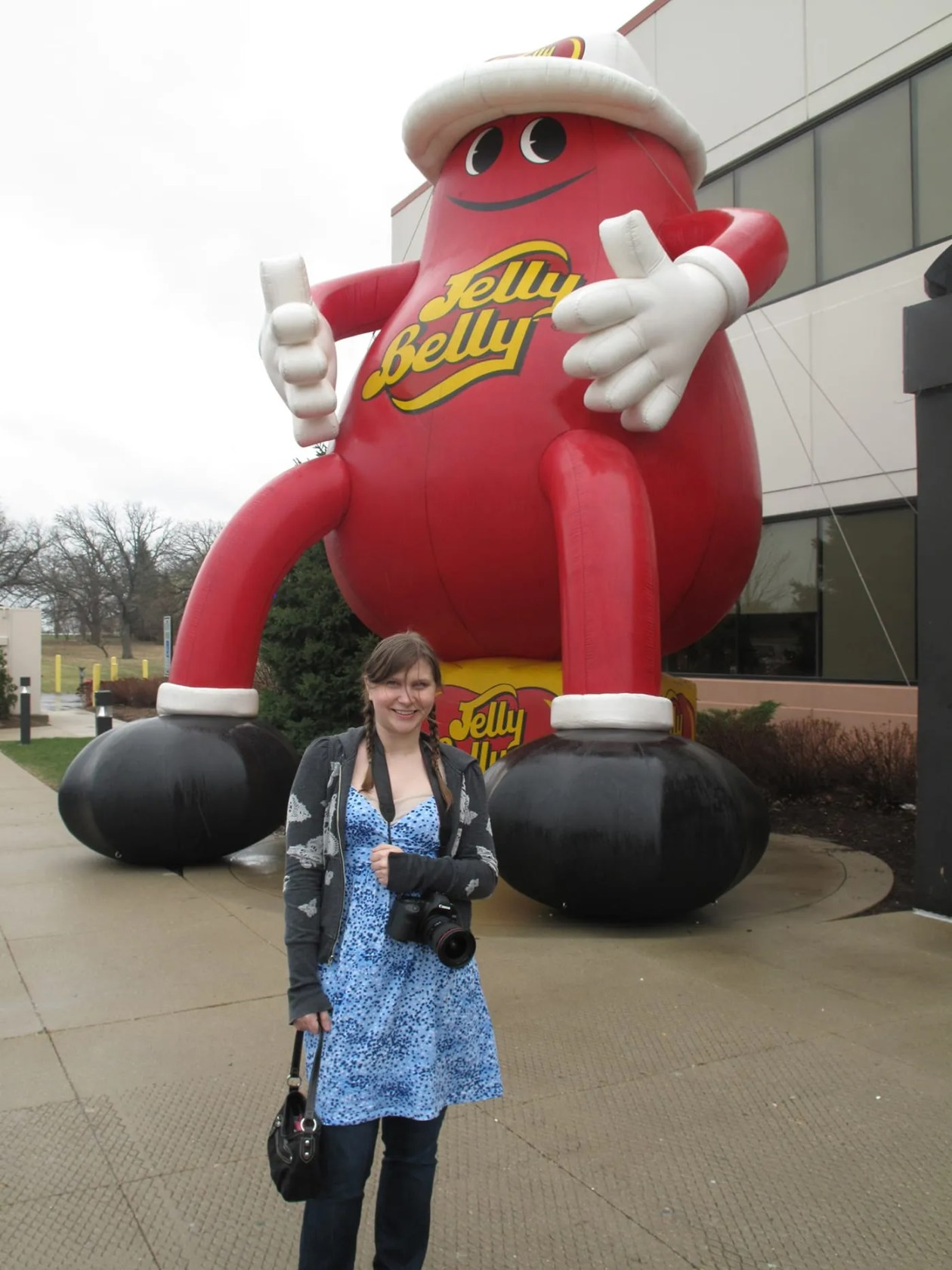 Val and the giant inflatable Jelly Belly at the Jelly Belly Tour in Pleasant Prairie, Wisconsin