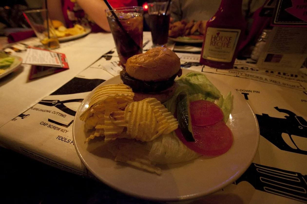 Great Texas Cover-up Spyburger at Safe House, a spy-themed restaurant in Milwaukee, Wisconsin.