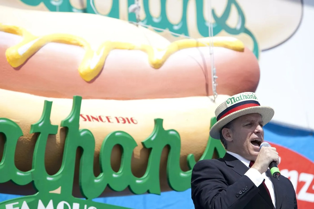 George Shea at the July 4th Coney Island Hot Dog Eating Contest
