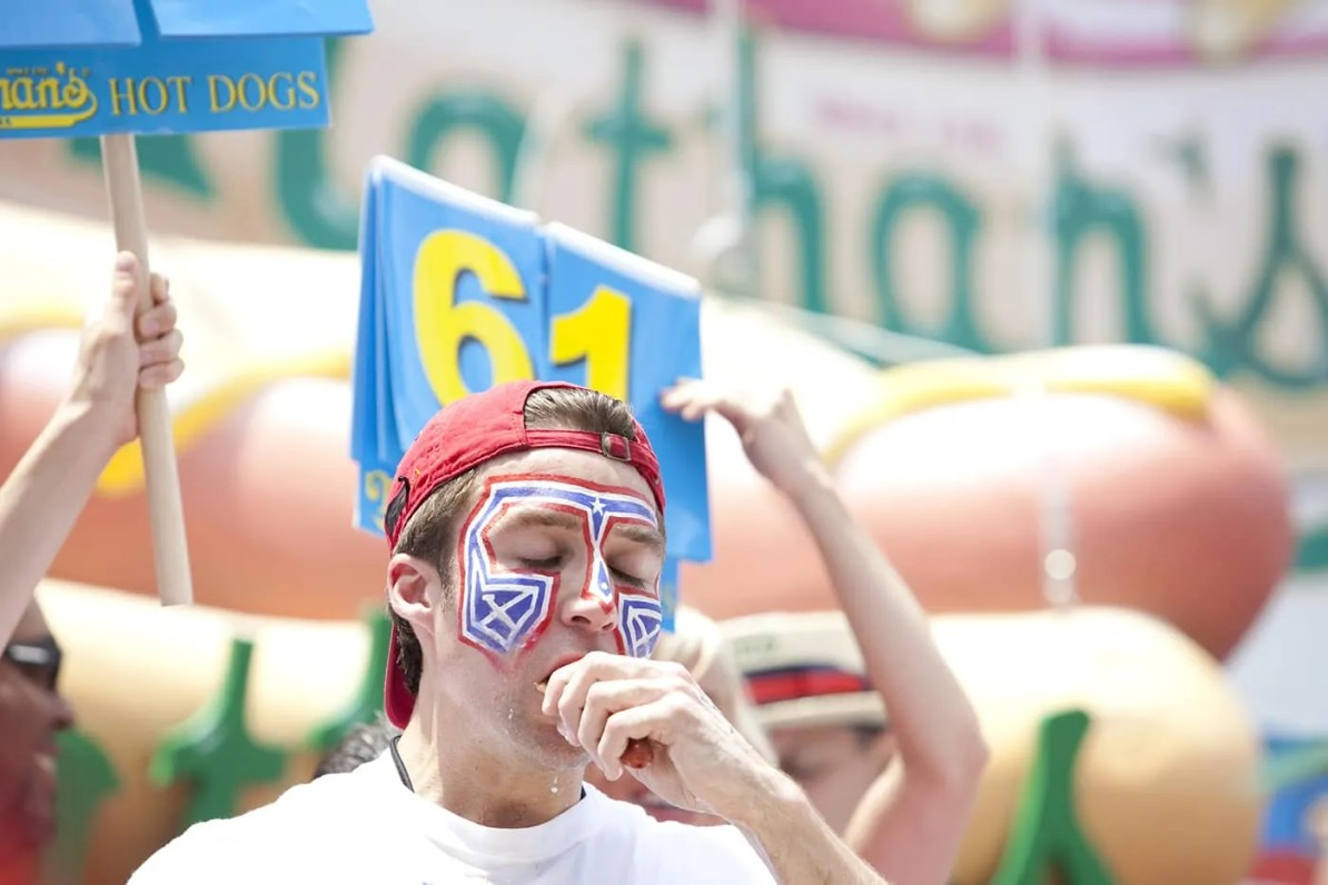 Tim Eater X Janus at the July 4th Coney Island Hot Dog Eating Contest