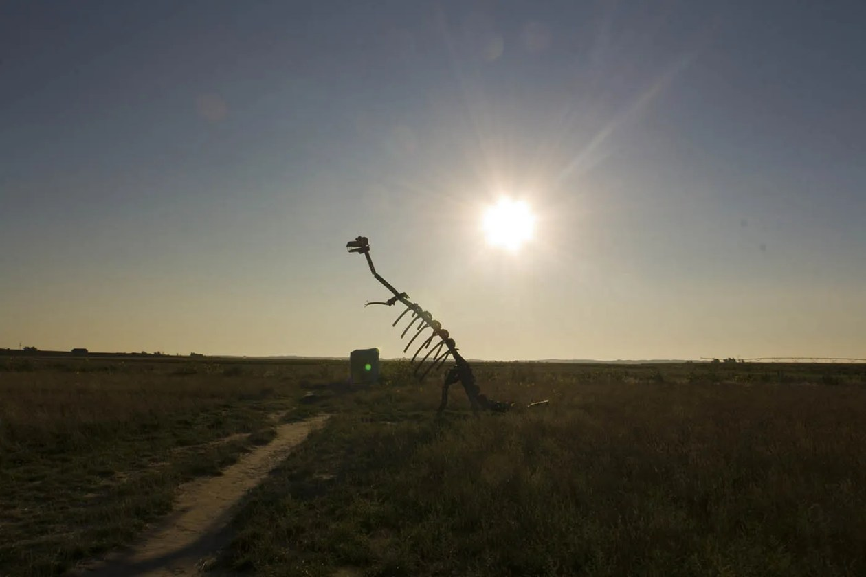 Dino sculpture at Carhenge Roadside Attraction in Alliance, Nebraska