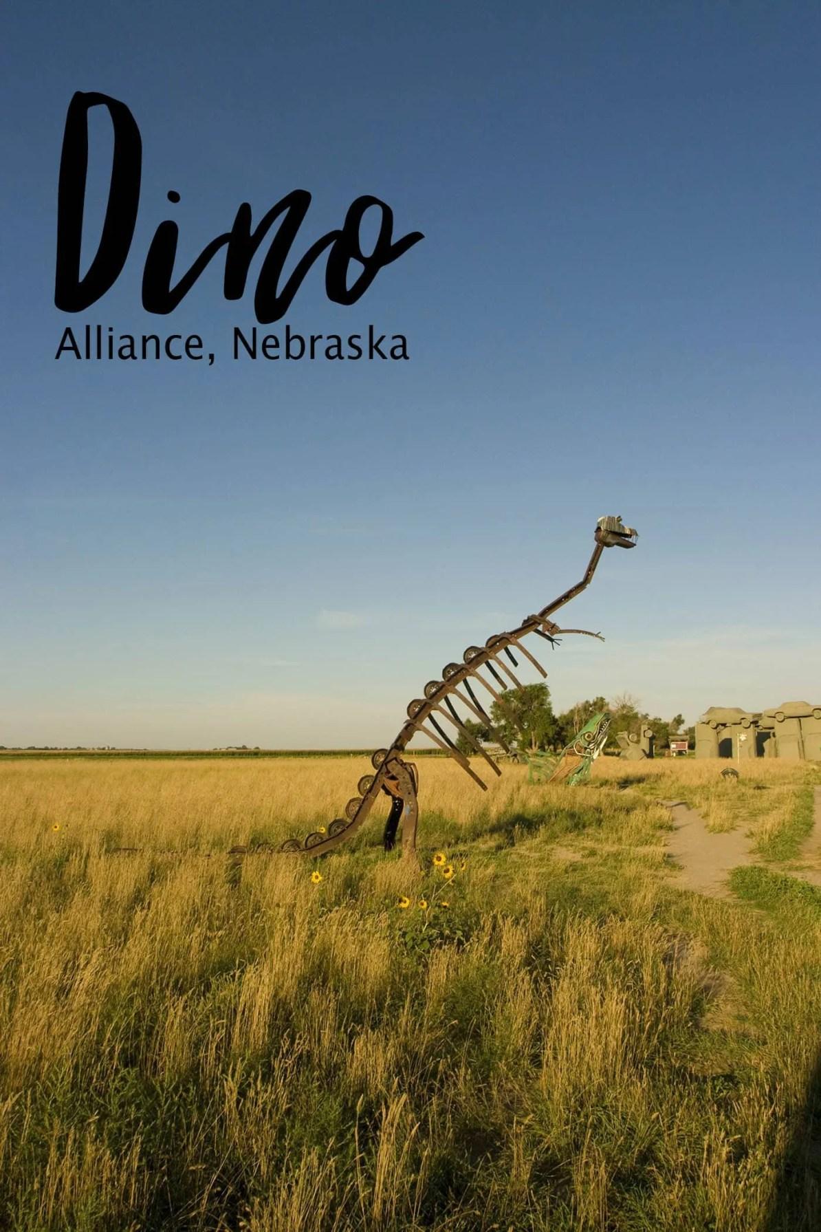 Dino sculpture at Carhenge Roadside Attraction in Alliance, Nebraska