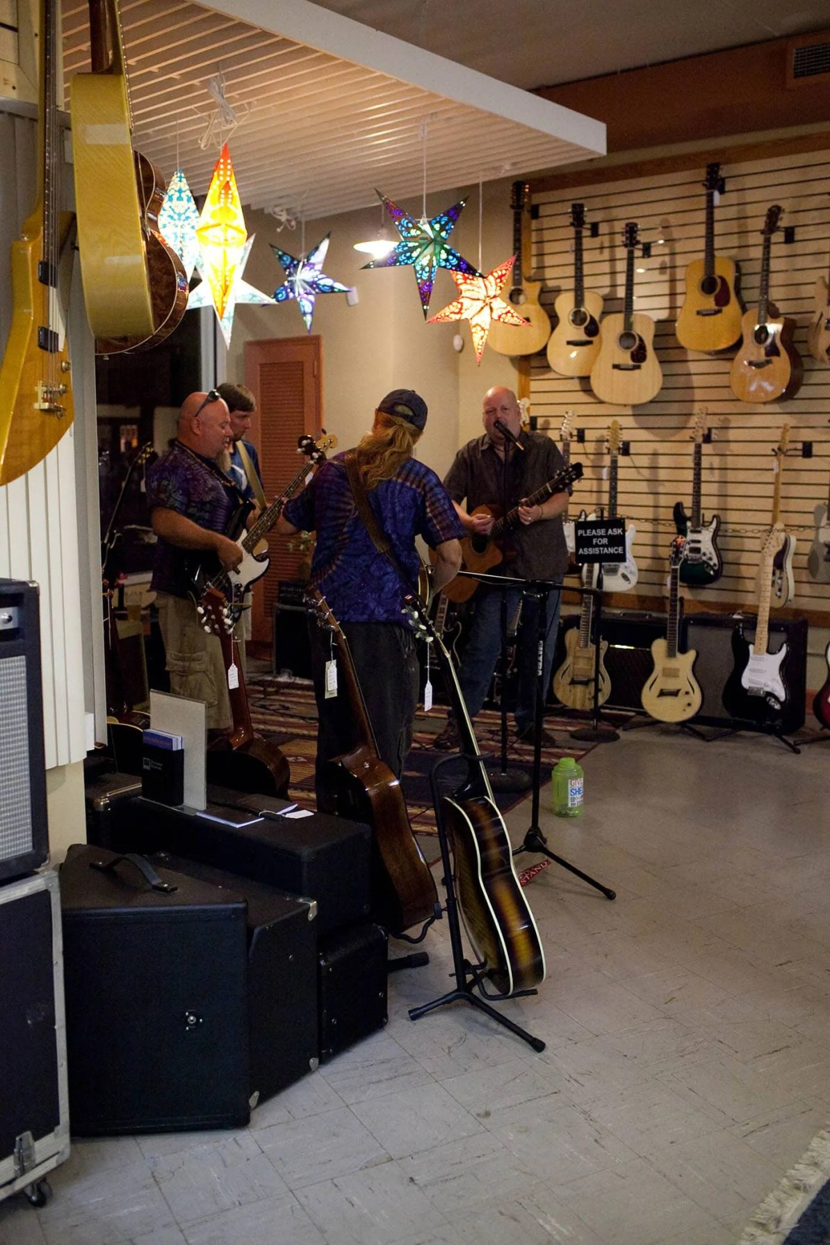 Performance at a guitar shop in Winston-Salem, North Carolina.