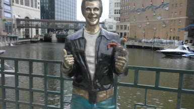 Flopsy and the Bronze Fonz in Milwaukee, Wisconsin.