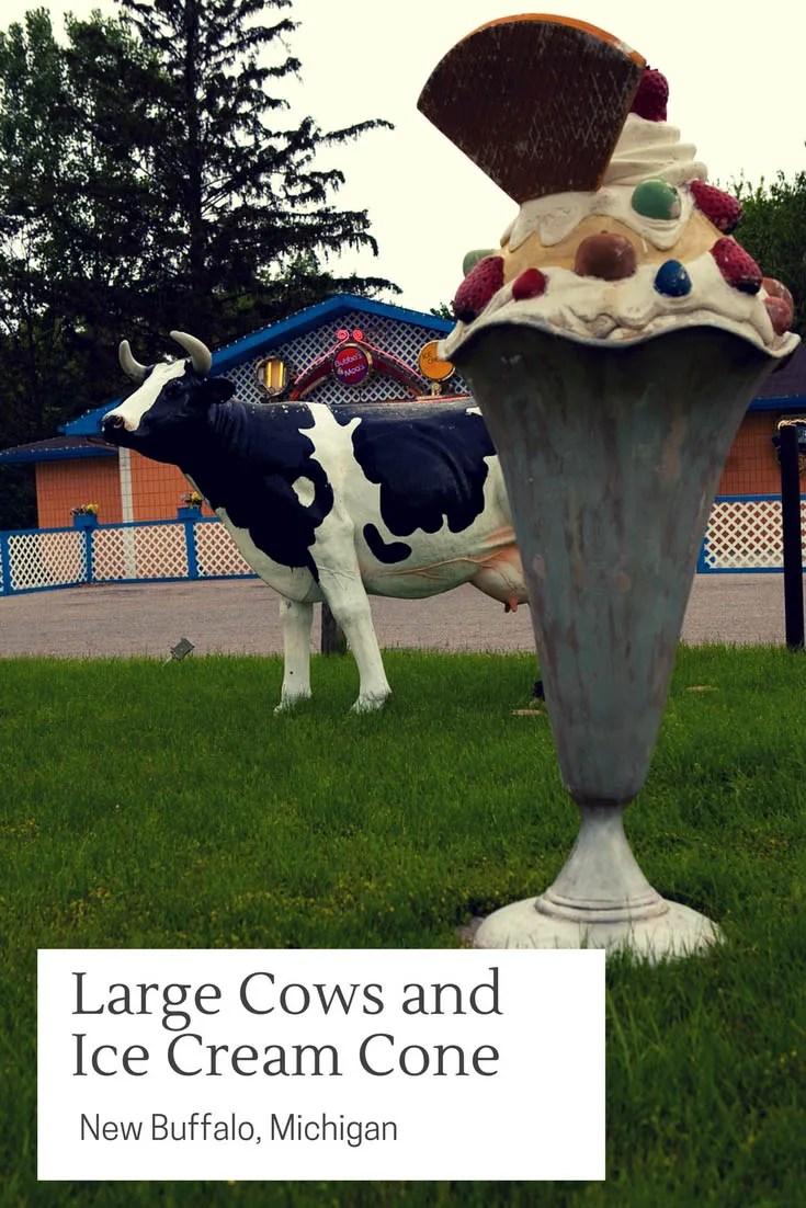 Large Cows and Ice Cream Cone in New Buffalo, Michigan