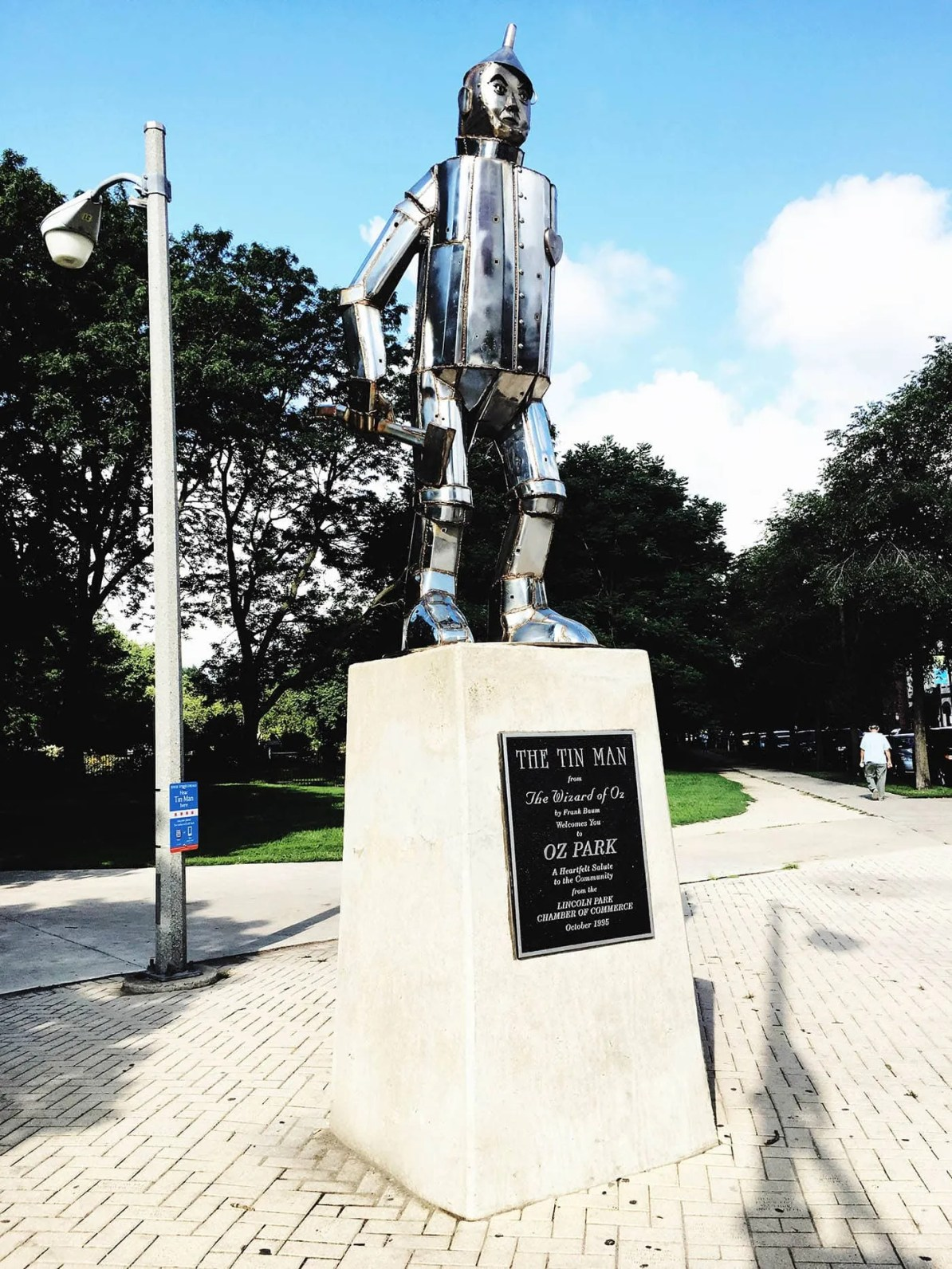 The Tin Man statue at Oz Park in Chicago, Illinois - a Wizard of Oz themed Park.