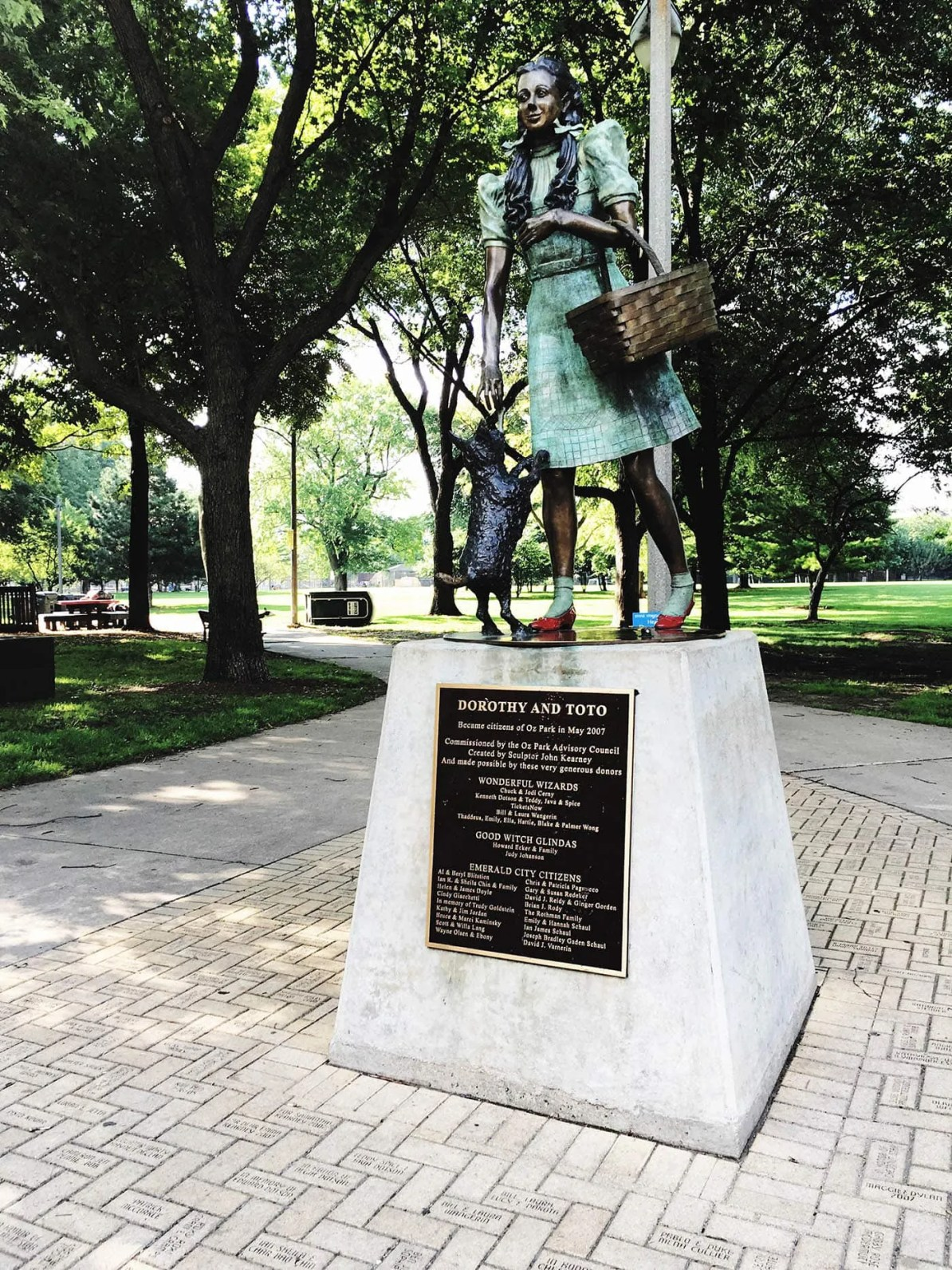 Dorothy and Toto  statue at Oz Park in Chicago, Illinois - a Wizard of Oz themed Park.