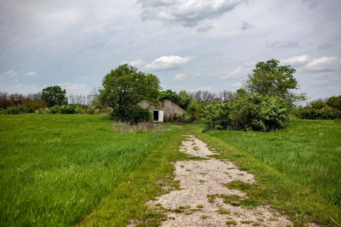 Army bunker at Midewin National Tallgrass Prairie in Wilmington, Illinois. See Bison in Illinois.