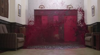 Elevator blood flood scene from The Shining